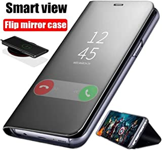 Egeedigi Smart Touch Mirror Flip Case for Samsung A30 A50 A70 A7 A9 Leather Case Back Cover with Bracket for Note 8 9 S8 S9 S10 Plus S10e Phone Stand View Case (Black, A50)