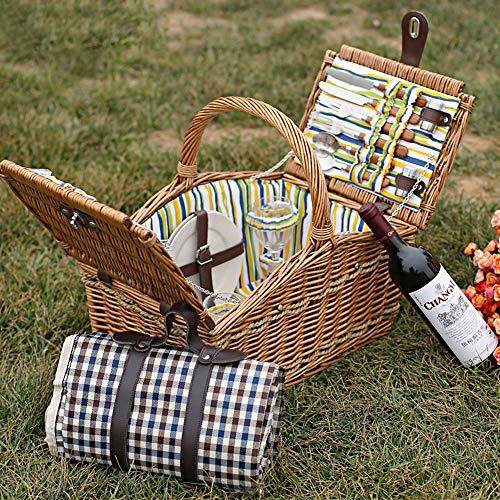 61FrD9MNK9L - fang zhou Delux Rattan Picknickkorb, Doppeldeckel Classic tragbar, 4-Personen-Picknickzubehörset Ablagekörbe Grillzubehör, passend für Park Beach