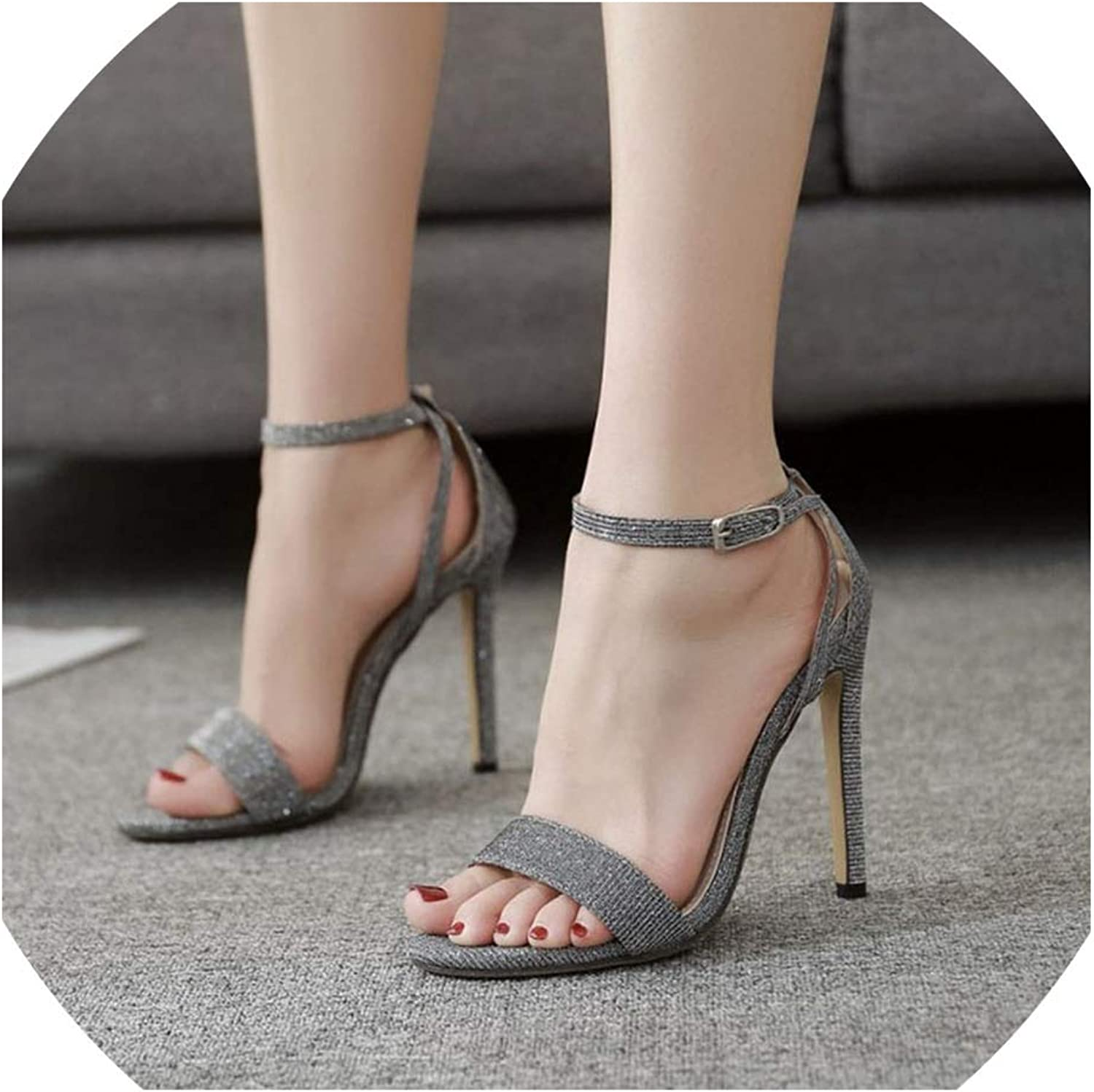 Boom-moon Summer Fish Mouth Word Buckle with Stiletto Super High Heel Sandals