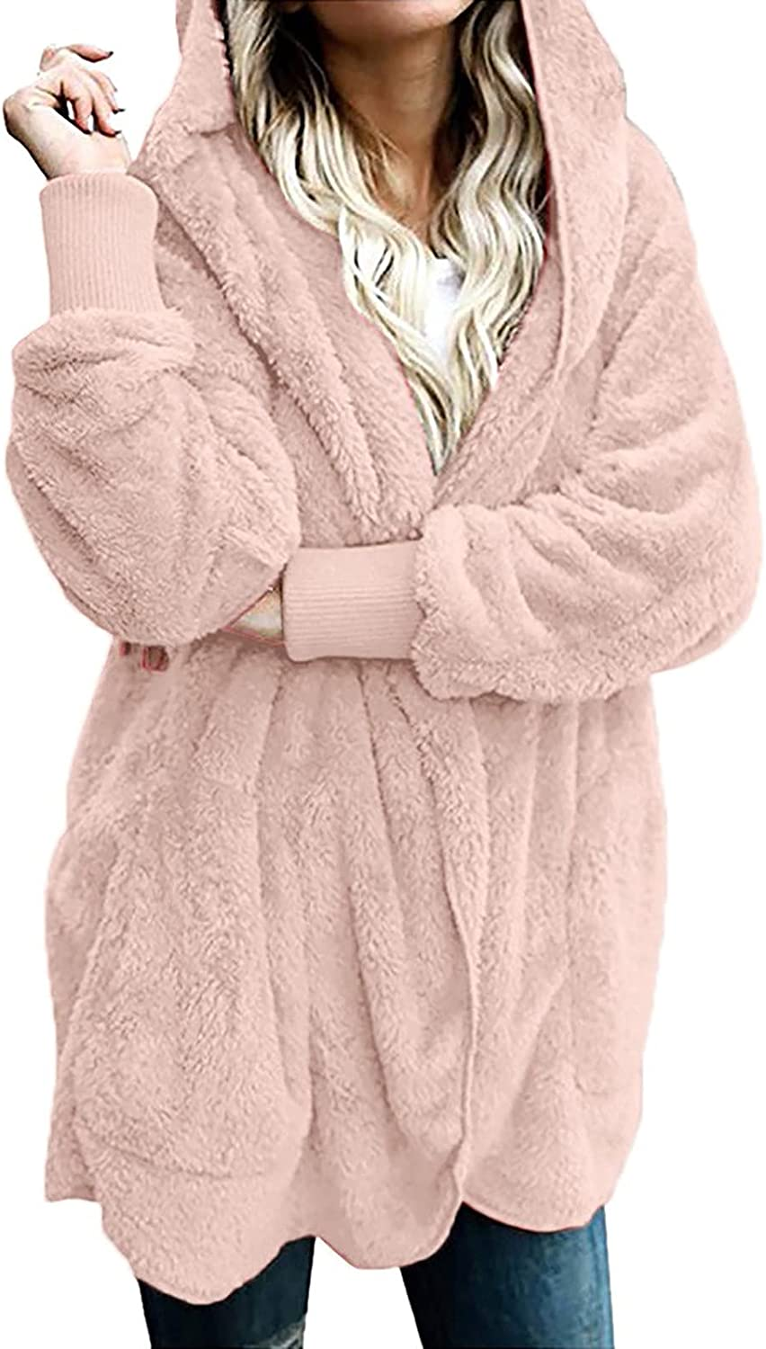 Womens Winter Fuzzy Faux Hooded Coat Casual Plus Size Plush Open Front Cardigan Solid Outdoor Jacket Warm Outwear
