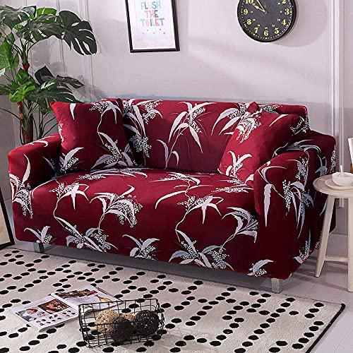 WLVG Fundas para sofá de 1 2 3 4 plazas, diseño de hojas rojas, elástico en forma de L, protector de sofá de sofá, cama de perro, gato de 90 a 140 cm