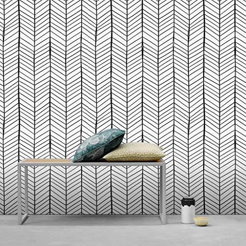 Självhäftande Tapet Självhäftande Wallpaper Geometriskt Vågmönster Fiskbens Stripes Bakgrund PVC-material Idealisk för Vardagsrum Sovrum Matsal TV bakgrundsbild Kontaktpapper (Size : 3 * 0.45m)