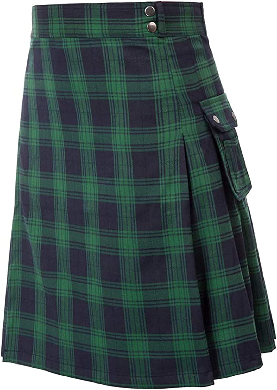 MAYW Men's Scottish Kilts Fashion Classic Tartan Kilt Plaid Contrast Color Pocket Pleated Skirt Utility Kilts