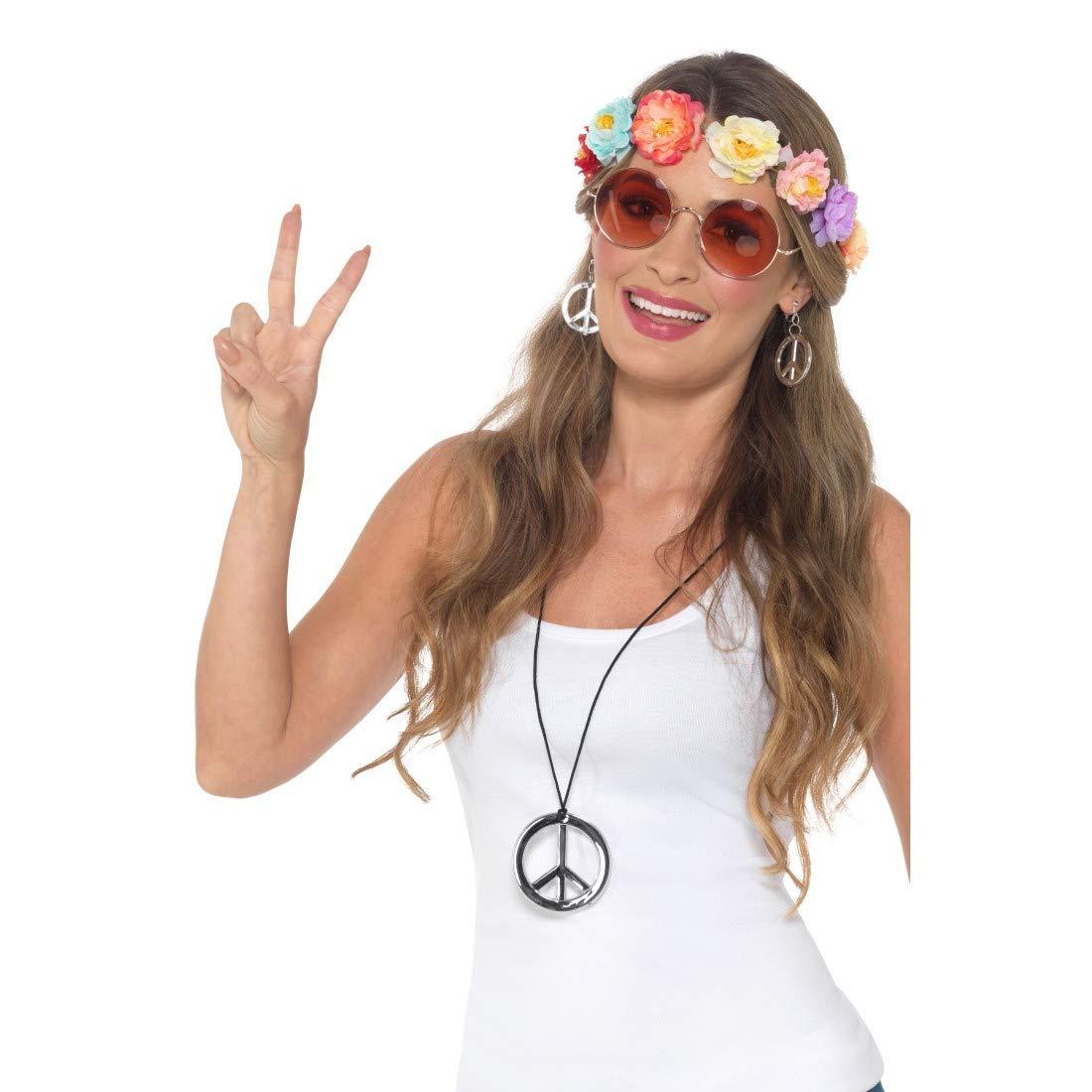 NET TOYS Set Disfraz Hippie | Atractivo Set de Accesorios para ...