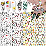 Nail Art Stickers Decals Nail Art Supplies 3D Sun Flower Snake Heart Tiger Butterfly Nail Decals for Nail Art Decoration Luxury Designer Nail Stickers for Acrylic Nails Supply Design (8 Sheets)