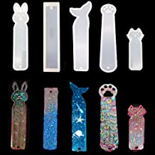 5 Pack Silicone Bookmark Mold, Fineder DIY Bookmark Casting Mould Making Epoxy Resin Jewelry DIY Craft Silicone Transparent Mold, 5pcs Resin Molds Including Mermaid, Cat Claw, Cat, Rabbit, Blank