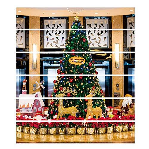 Yosooo 6 Piezas Adhesivos, Impermeable Árbol de Navidad Escalera Adhesivos de Pared Adornos Decoración de Fiesta en Casa Mejora...