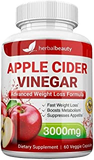 High Strength Raw Apple Cider Vinegar Capsules 3000mg Pure Weight Losss and Detox 60 caps USA