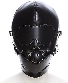 Hallowmas Adjustable Blindfold Harness Plug Hood Mask Costume Accessory Fancy Dress Party Role Play Headgear Pu Leather