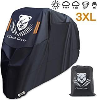 ClawsCover 3XL Motorcycle Covers Waterproof 420D Oxford 114 Inches All Season Heavy Duty Windproof Tearproof Fadeless Outdoor Protection Bike Cover with Lock hole for Harley Kawasaki Suzuki