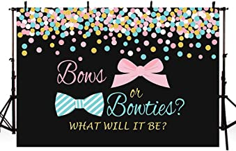 MEHOFOTO Bows or Bowties Gender Reveal Party Photo Background Props Unisex Baby Shower Pink or Blue Gold Polka Dots Confetti Black Decoration Backdrops Banner for Dessert Table 7x5ft