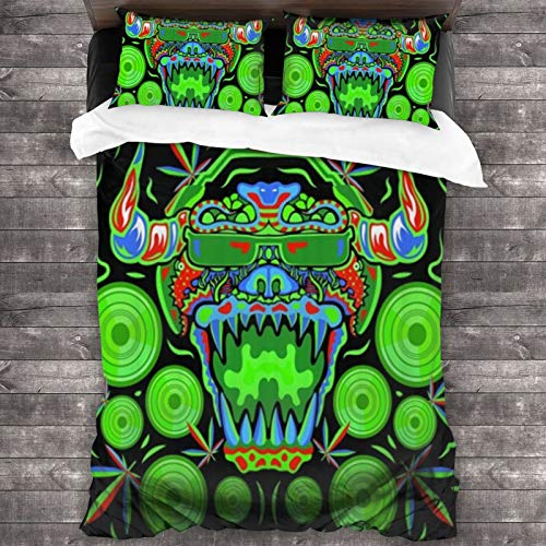 BROWCIN Juego de Sábanas Trippy Marijuana Monster DJ Psychedelic Party Flyer Juego de Funda nórdica y Funda de Almohada(220*240cm) Cierre de Cremallera con Lazos de Esquina