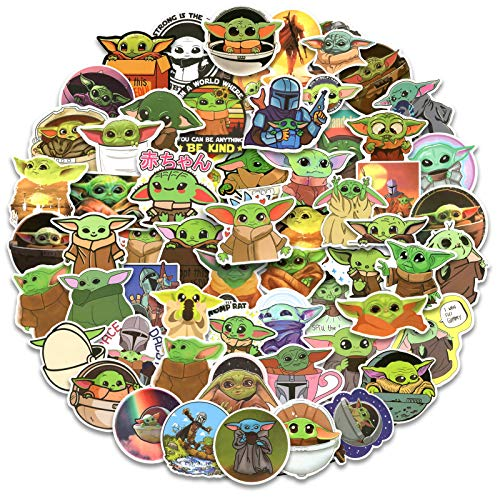 Baby Yoda Stickers, 100pcs Mandalorian Star Wars Decals for Laptop, Vinyl Waterproof Stickers for Water Bottle, Cool Cute Cartoon Stickers for Kids, Teens, Adults