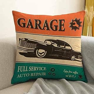 Antony Petty Vintage Bedding Soft Pillowcase Garage Retro Poster with Classic Car Automobile Mechanic Nostalgic 50s Hypoallergenic Pillowcase W16 x L24 Inch Orange Beige Jade Green
