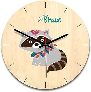 Reloj De Pared De Números Minimalista de madera Sala de estar Reloj de pared Reloj El Nordic historieta de madera contrata...