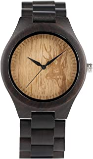 Novel Deer Head Pattern Wooden Watch for Men, Analog Quartz Wooden Bamboo Watches for Male, Bracelet Clasp Wrist Watch Wooden for Teenagers