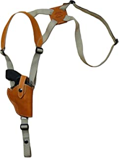 Barsony New Saddle Tan Leather Vertical Cross Harness Shoulder Holster for 2-3