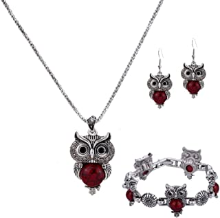 YAZILIND Silver Plated Turquoise Owl Pendant Necklace Drop Earrings for Women Jewelry