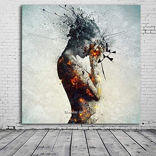 GUOYHDM Reine Handgemalte Topdecorative Wandmalerei Frau Gemälde Moderne Abstrakte Ölgemälde Leinwandbilder Für Wohnzimmer 100X100 cm