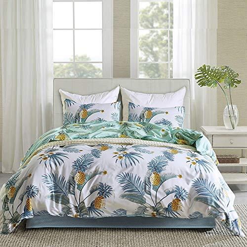 Cupocupa 095-135200-4 piezas - Juego de cama de verano con diseño de hojas