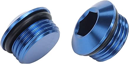 Blue Aluminum -6 AN Socket head hex ORB Port Plug With 6 AN AN6 O Ring, Pack of 2