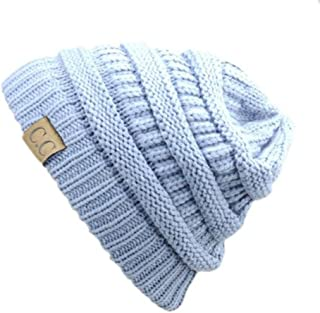 Trendy Warm Chunky Soft Stretch Cable Knit Slouchy Beanie Skully HAT20A (Light Blue)