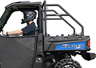 SuperATV Heavy Duty Rear Roll Cage Support for Polaris Ranger Midsize 500/570 / EV/ETX/Crew - SEE FITMENT - Wrinkle Black