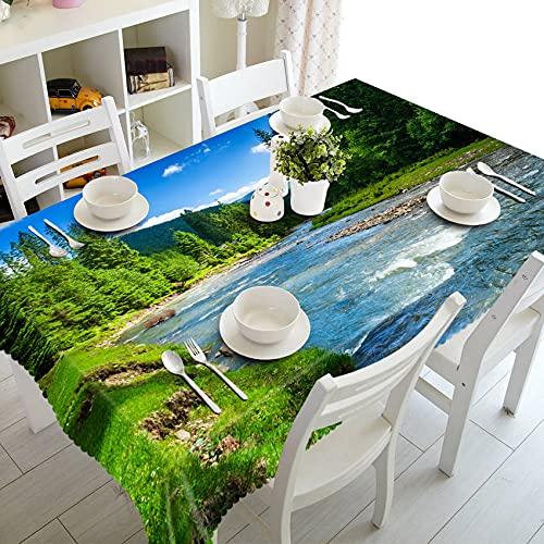XXDD Mantel de Paisaje de Gaviota de árbol de Coco de Playa 3D Mantel Rectangular Lavable decoración de Boda Familiar A3 140x200cm