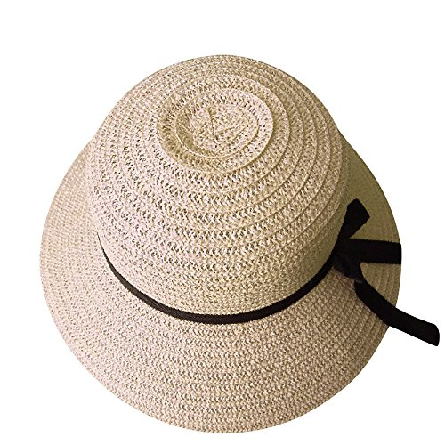 womens novelty sun hats DIOMOR Womens Elegant Wide Brim Foldable Sun Hat with Bow Tie Floppy UPF 50+ Straw Hat UV Sun Protection Bucket Hat