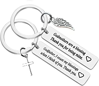 Best Godparent Gifts from Godchild,Godmother Keychain Godfather Keychain Christening Gift for Godmother Godfather Baptism Jewelry Gift for Godmothers Godfather Birthday Gift for Women men (2 Pack) Review