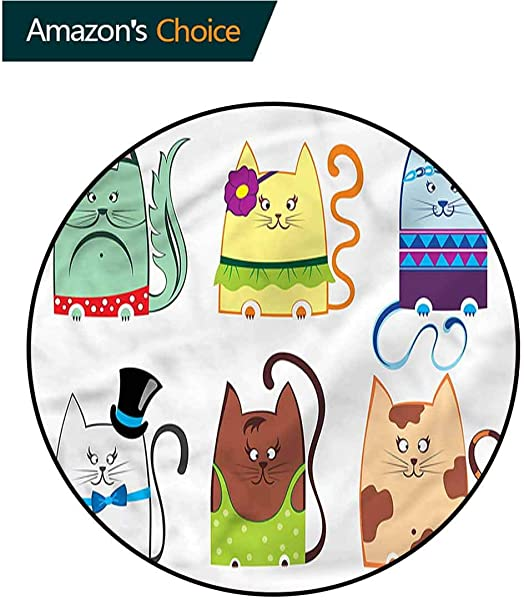 RUGSMAT Cat Carpet Gray Round Area Rug Funny Kitty Animal Characters Learning Carpet Non Skid Nursery Kids Area Rug For Playroom Diameter 71