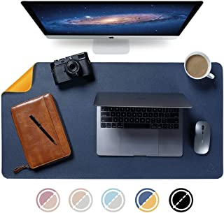 "Knodel Dual-Sided Desk Mat, 35.4"" x 17"" Desk Pad, Upgrade Sewing PU Leather Desk Blotter Protector, Mouse Pad, Writing Mat for Office and Home (Dark Blue)"