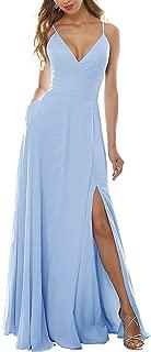 YMSHA Women's Long Halter V Neck Chiffon Prom Party Dresses Slit Beach Wedding Evening Gown PM09