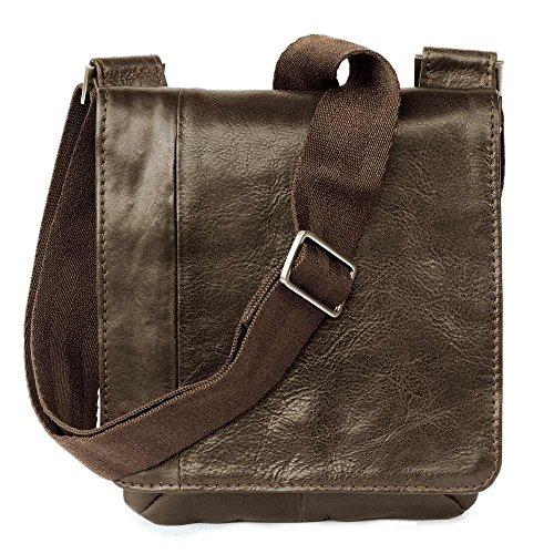Kleine Umhängetasche/Handtasche Größe S aus Nappa-Leder, A5 Hochformat, Braun, Jahn-Tasche 418