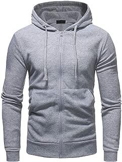 Hoodie Sweatshirt Mens Casual Fashion Zip Up Long Sleeve Pocket Solid Jacket Coat
