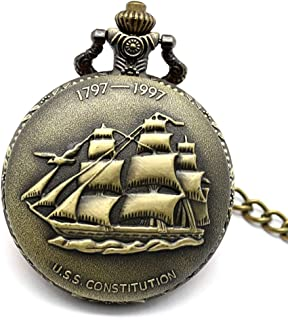 YXZQ Pocket Watch, Antique Bronze Sailing Ship Necklace Chain Pendant Quartz Watches Men Women