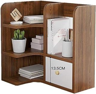 Estantería de escritorio pequeña con múltiples capas con cajones para el hogar, oficina, sala de estar, color A