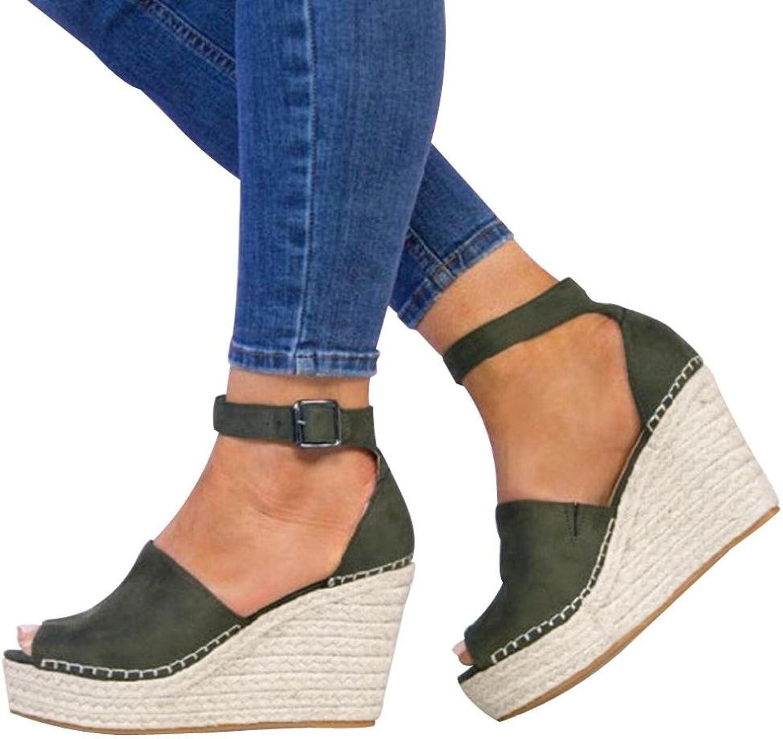 Fheaven (TM) Summer Women shoes Dull Polish Open Toe Buckle Strap Platform High Heel Wedge Sandals
