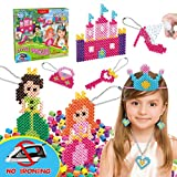 Kids DIY Water Fuse Non Iron Super Beads Girls Arts and Crafts Toy Set. Girls Indoor Activity Fun Project Little Princess Crafts Kit for Girls. Birthday Gift Age 4 5 6 7 8 9 Year Old Girl Perler Beads