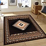 Allstar 5x7 Black and Ivory Classic Navajo Machine Carved Effect Rectangular Accent Rug with Mocha and Espresso Southwestern Geometric Bordered Medallion Design (5' 2' x 7' 1')