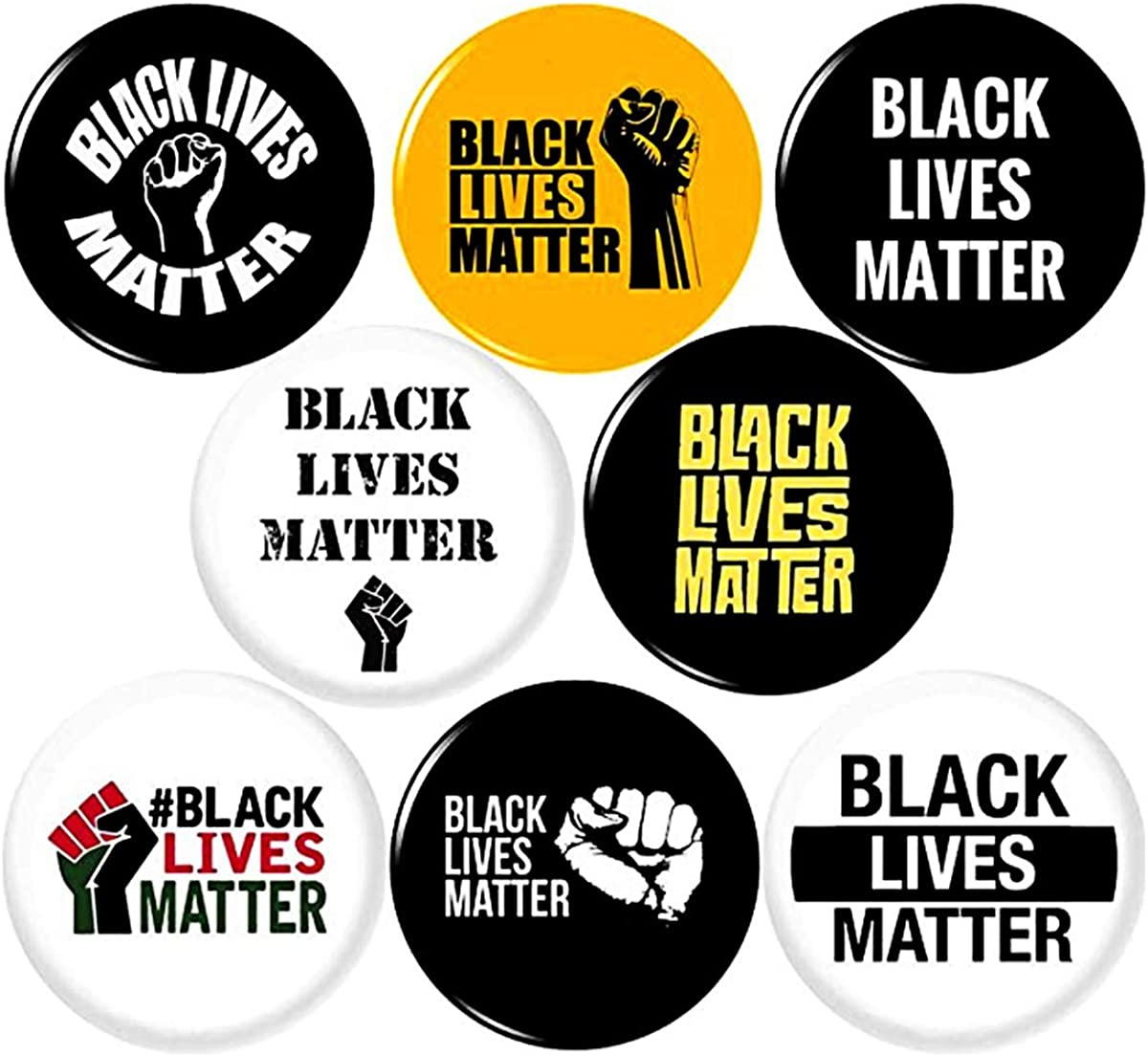 Panic Buttons BLACK LIVES MATTER 8 NEW 1 Inch (25mm) Set of 8 Pinback Buttons Badges Pins 1