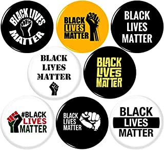 """Panic Buttons BLACK LIVES MATTER 8 NEW 1 Inch (25mm) Set of 8 Pinback Buttons Badges Pins 1"""" BLM"""