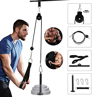 Tricep Pulley Cable Machine Attachments, Gym Cable Pulley System Forearm Wrist Roller Trainer Arm Strength Training Exerciser for Lat Pull downs, Bicep curls, Triceps Extensions Fitness Workout