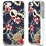 unnito iPhone 5C Case – Hybrid Commuter Case | Slim Cover with Hard Shell Design and Soft Inner Layer Compatible with iPhone 5C White Case - Pineapple Hibiscus