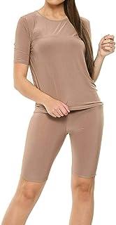 pipigo Women Casual V Neck Sleeveless Drawstring Slim Stretch High Waist Tracksuit
