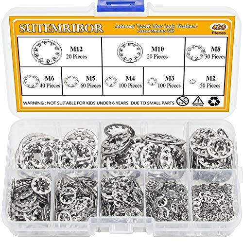 Sutemribor 420PCS 304 Stainless Steel Internal Tooth Star Lock Washers Assortment Set, 8 Sizes - M2 M3 M4 M5 M6 M8 M10 M12