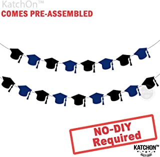 Graduation Garland for Grad Party - Assembled - Black and Blue Graduation Party Supplies - Graduation Hat Decorations for Graduation Party Supplies 2019 - Cute and Unique for Table, Mantle, No DIY