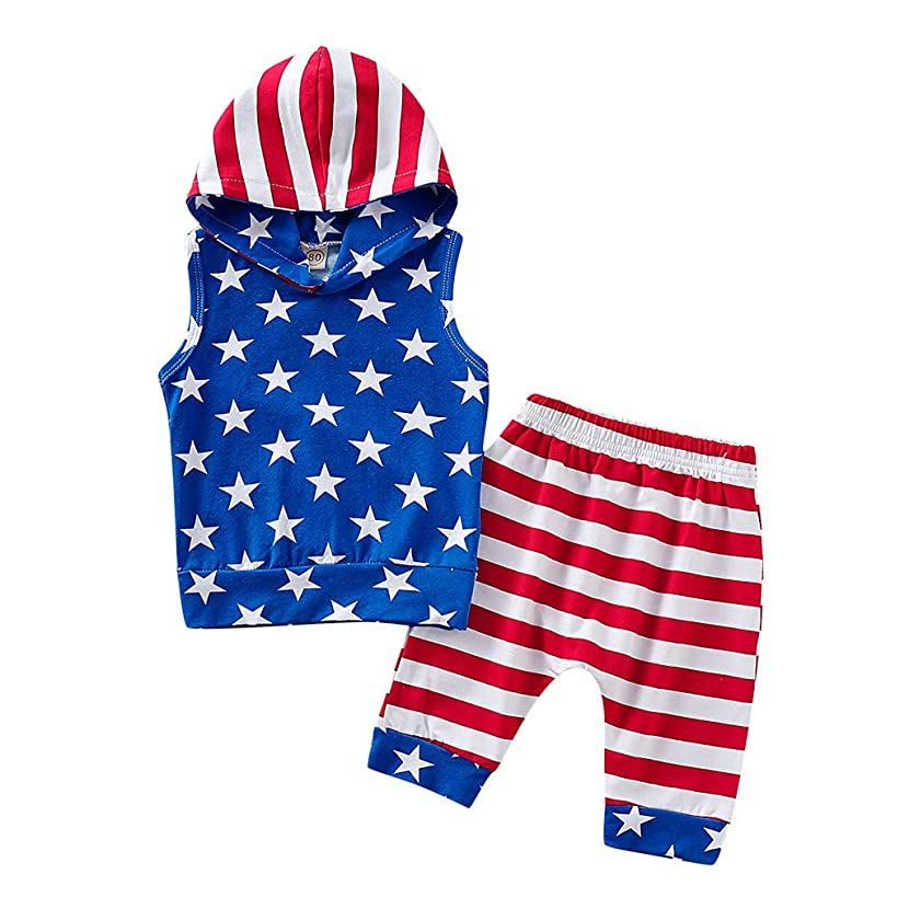 ?Ywoow? Summer Boys Clothes Sets, Boys 4th of July Stars and Striped Patriotic Hooded Clothes Sets Kids Tops + Shorts Outfits