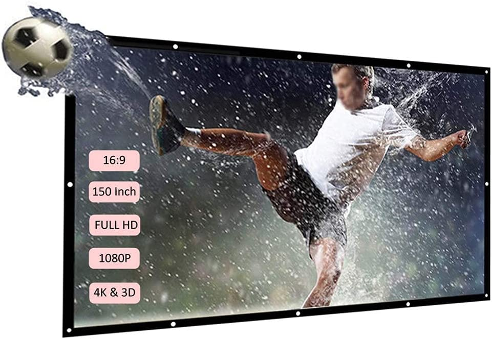 FMOGE Portable Projection Screen, 16:9 Widescreen Projector Screen, Foldable Projector Screen for Home Theater Cinema Outdoor Sport Event,150 Inches