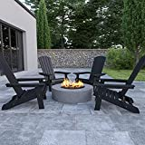 Flash Furniture Charlestown Folding Adirondack Chair - Black - Poly Resin - Indoor/Outdoor - Weather Resistant - Set of 4